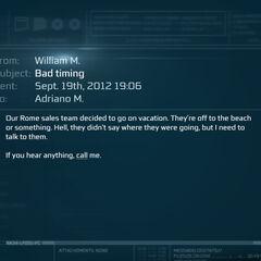 威廉发送给阿德里亚诺的邮件。