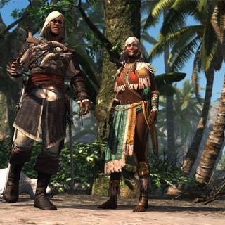 Opía and Edward looking toward the Templar ships