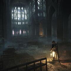 阿尔诺进入破败的圣但尼圣殿