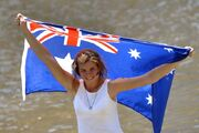 Australian flag girl beach