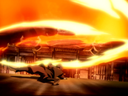 Spinning flame kick