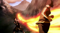 Korra firebends at Kuvira