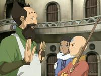 Aang displeased with the mechanist