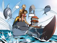Aang and Kiyi ride a dolphin fish