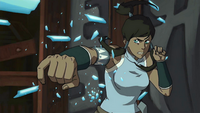 Korra shatters ice projectiles