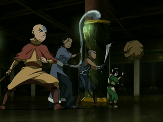 File:Team Avatar threatens the Earth King.png