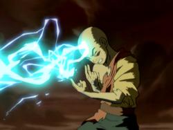 Aang absorbs lightning