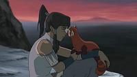 Pabu comforting Korra