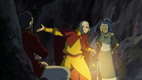 Tenzin, Kya, and Bumi argue