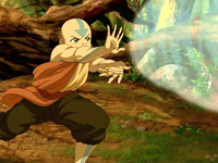 Aang testing his airbending on the lion turtle