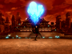 Azula performing an enhanced fire kick