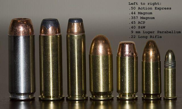 File:50 AE, .44 M, .357 M, .45 ACP, .40 S&W, 9mm and .22 LR.jpg