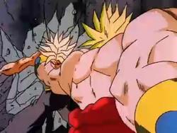 Broly Slamming Ascended Super Saiyan Trunks into a Wall