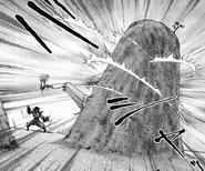 Yashamaru capturing Shougen around the rock