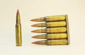 7.62 NATO tracer rounds, in stripper clip