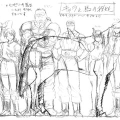 A height comparison of an older Guts alongside the other older members of the Band of the Hawk and Charlotte, with a horse present to illustrate their size, for the 1997 anime.