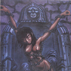 Casca wrapped in chains before an iron maiden, surrounded by demons.
