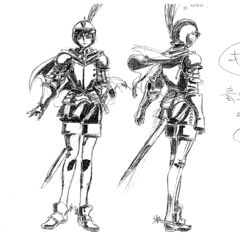 Full body sketches, shaded with charcoal, of an older Casca clad in armor for the 1997 anime.
