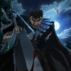 A promotional image of Guts wielding the Dragonslayer alongside <a href=