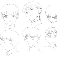 Profile drawings of an older Rickert from various angles showing several expressions for the 1997 anime.