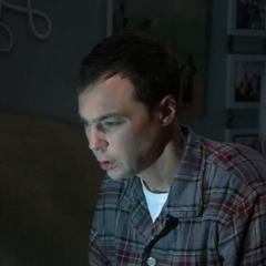Amy flashes Sheldon.