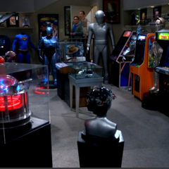 Dr. Lovis' geeky basement collection.