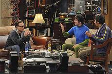 Howard, Raj and Leonard in his apartment
