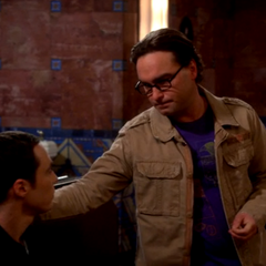 Leonard saying good bye to Sheldon. Penny tearing up.