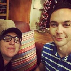 Mayim and Jim in Sheldon's spot.