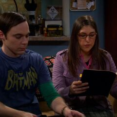 Amy reading out the terms in the Relationship Agreement as Sheldon prepares his notary stamps