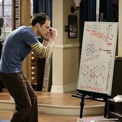Sheldon is stuck trying to solve something.