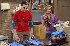 Sheldon and Penny in the laundry room
