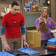Sheldon's busy folding laundry.