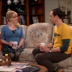 Sheldon seeks advice from Bernadette, his seventh choice.
