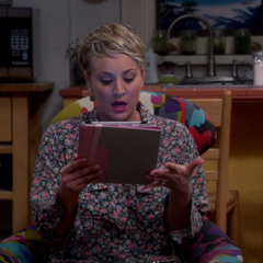 Penny reading Amy's Little House fan fiction.