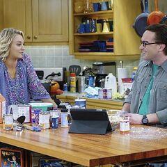 Leonard and Penny preparing Thanksgiving dinner.