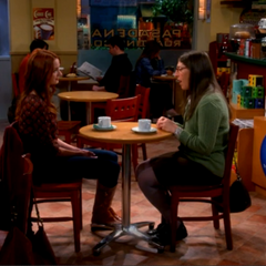Amy having coffee with a friend she met through Raj's dating site.