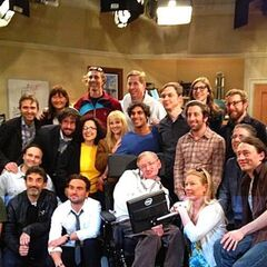 Stephen Hawking with the cast and crew.