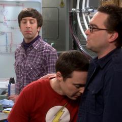 Leonard comforting Sheldon.