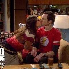 Sheldon and Amy's first kiss