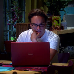 Leonard reading Penny's report.