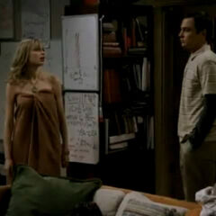 Sheldon finds Katie after her shower.