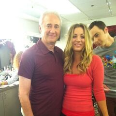 Kaley behind stage with Brent Spiner