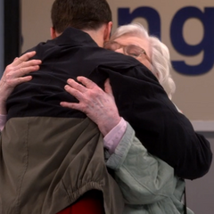 Sheldon hugging his beloved grandmother.