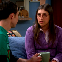 Amy and Sheldon discussing Professor Proton's death.