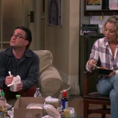Listening to Sheldon's Thanksgiving plans.