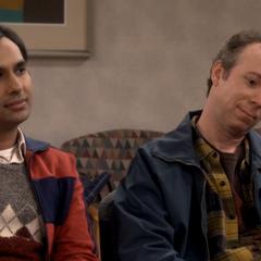 Raj and Stuart waiting.
