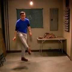 Sheldon playing with his Hacky Sack.