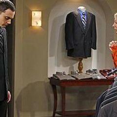 Penny loves Sheldon's suit.