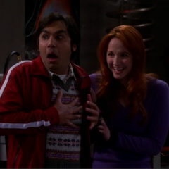 Raj is scared, Emily is having fun.
